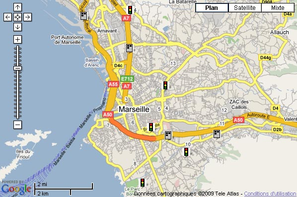 photo carte radars feux rouges marseille